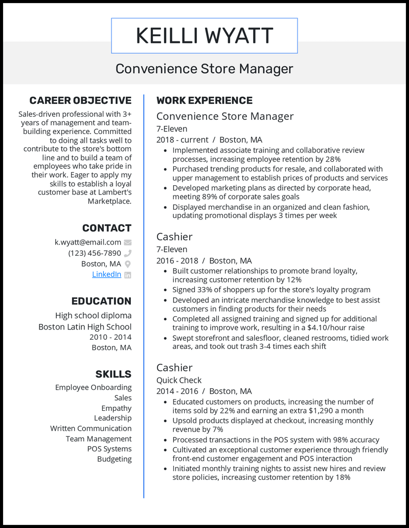 Convenience Store Manager resume example